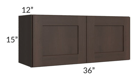 Dark Chocolate Shaker 36x15 Wall Cabinet