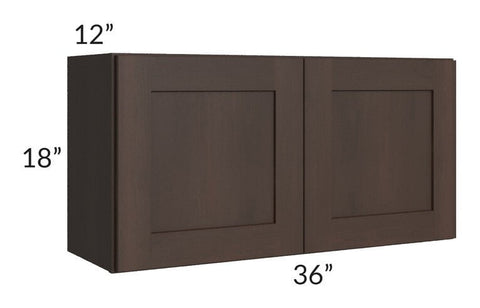 Dark Chocolate Shaker 36x18 Wall Cabinet