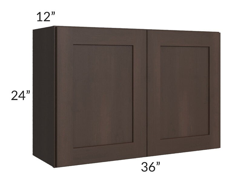 Dark Chocolate Shaker 36x24 Wall Cabinet