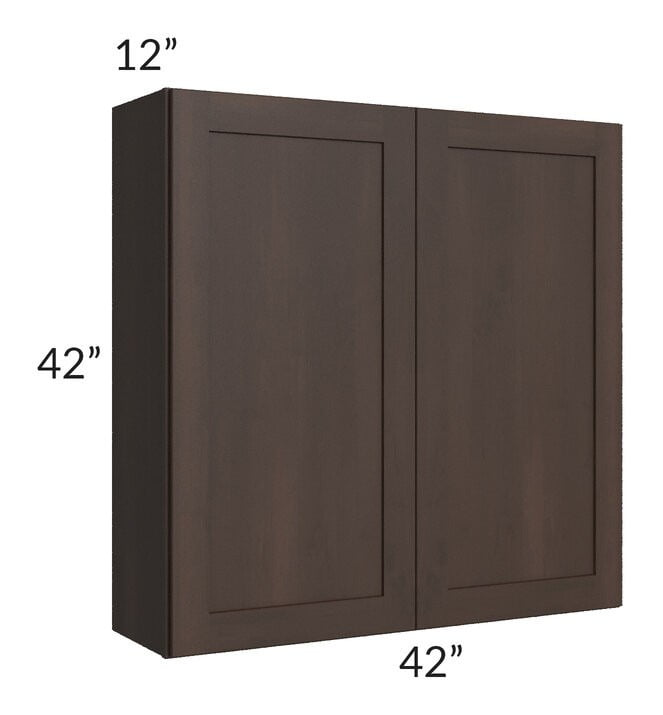 Dark Chocolate Shaker 42x42 Wall Cabinet