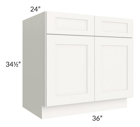 "Arctic White Shaker 36"" Sink Base Cabinet"