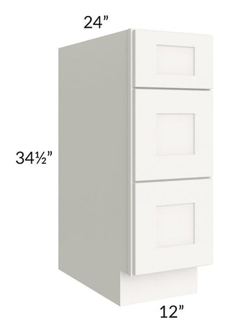 "Arctic White Shaker 12"" 3-Drawer Base Cabinet"