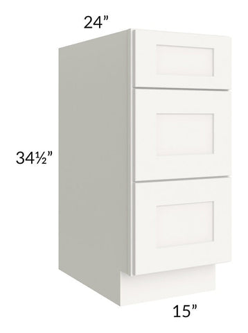 "Arctic White Shaker 15"" 3-Drawer Base Cabinet"