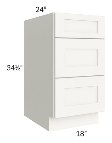 "Arctic White Shaker 18"" 3-Drawer Base Cabinet"
