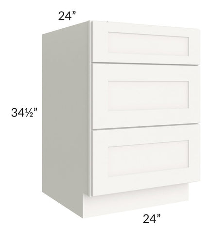 "Arctic White Shaker 24"" 3-Drawer Base Cabinet"