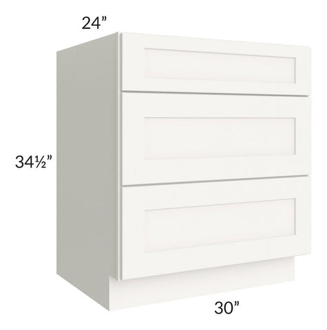 "Arctic White Shaker 30"" 3-Drawer Base Cabinet"