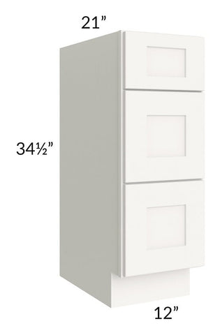 "Arctic White Shaker 12"" 3-Drawer Vanity Base Cabinet"