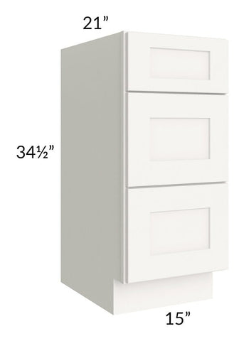 "Arctic White Shaker 15"" 3-Drawer Vanity Base Cabinet"