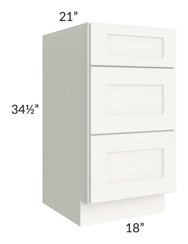 "Arctic White Shaker 18"" 3-Drawer Vanity Base Cabinet"