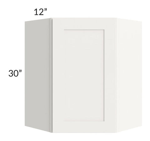 Arctic White Shaker 24x30 Wall Diagonal Corner Cabinet - Out of Stock til beginning of October