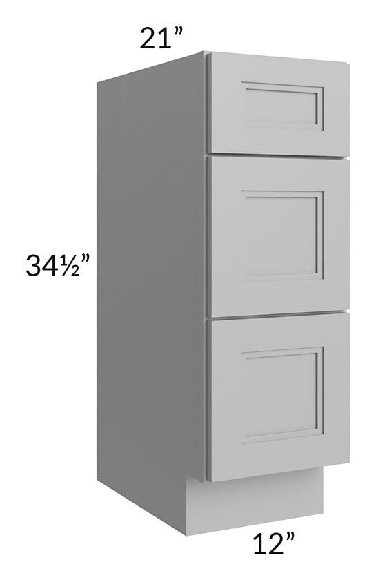 "Charlotte Grey 12"" Vanity 3-Drawer Base Cabinet"