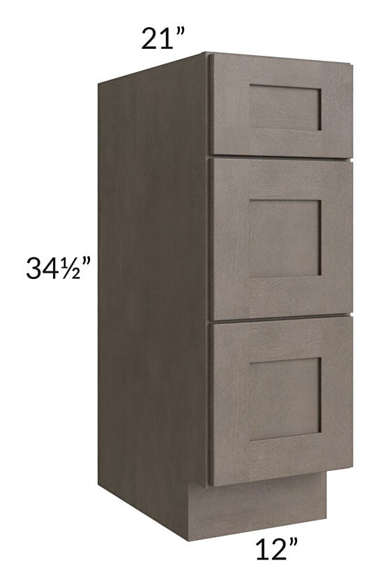 "Natural Grey Shaker 12"" Drawer Base Bathroom Vanity Cabinet"