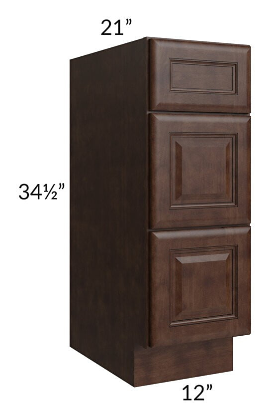 "Regency Espresso 12"" Drawer Base Bathroom Vanity Cabinet"