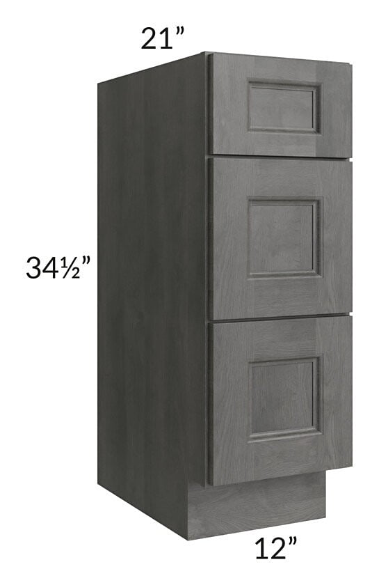 "Providence Slate Grey 12"" Drawer Base Bathroom Vanity Cabinet"