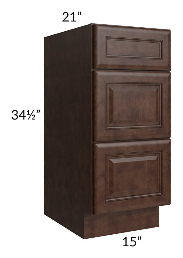 "Regency Espresso 15"" Drawer Base Bathroom Vanity Cabinet"