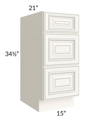 "Signature Vanilla Glaze 15"" Drawer Base Bathroom Vanity Cabinet"