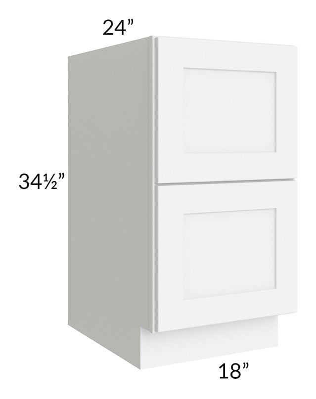 "Brilliant White Shaker 18"" 2-Drawer Base Cabinet"
