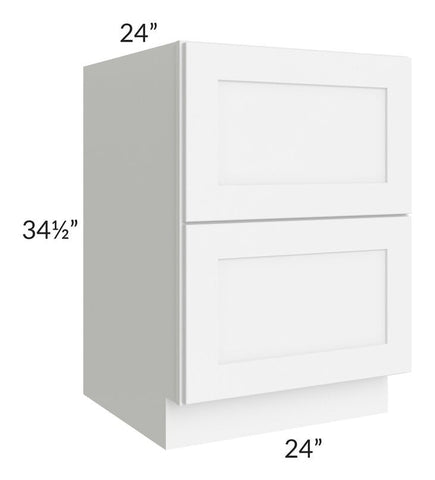 "Brilliant White Shaker 24"" 2-Drawer Base Cabinet"