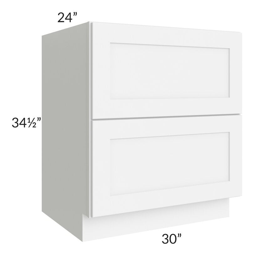 "Brilliant White Shaker 30"" 2-Drawer Base Cabinet"