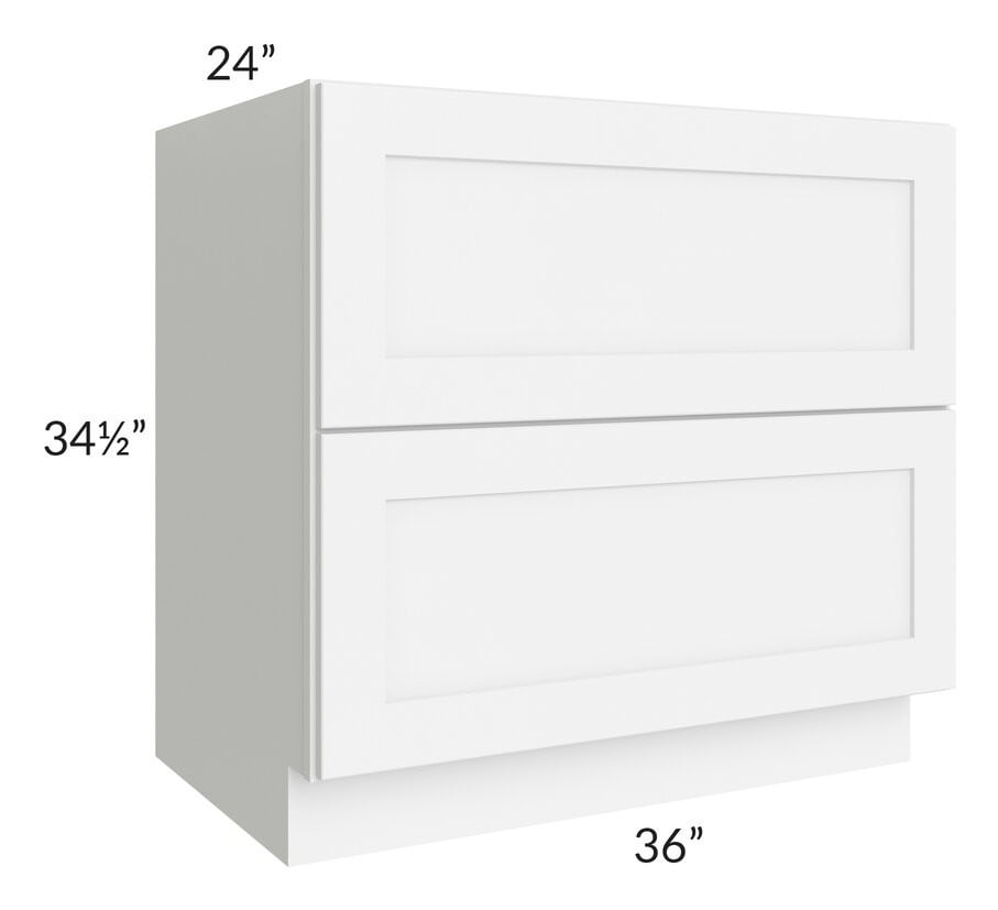 "Brilliant White Shaker 36"" 2-Drawer Base Cabinet"