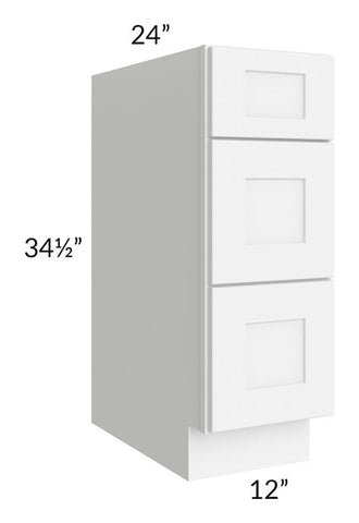 "Brilliant White Shaker 12"" 3-Drawer Base Cabinet"