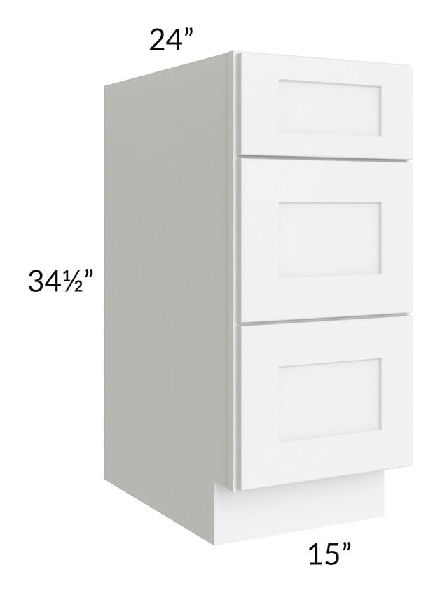 "Brilliant White Shaker 15"" 3-Drawer Base Cabinet"
