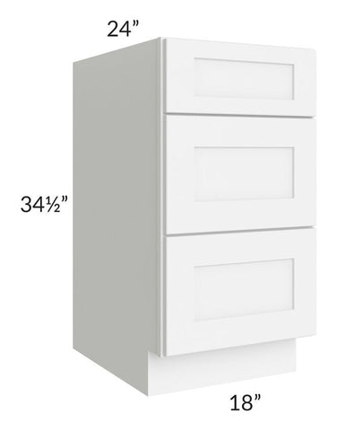 "Brilliant White Shaker 18"" 3-Drawer Base Cabinet"