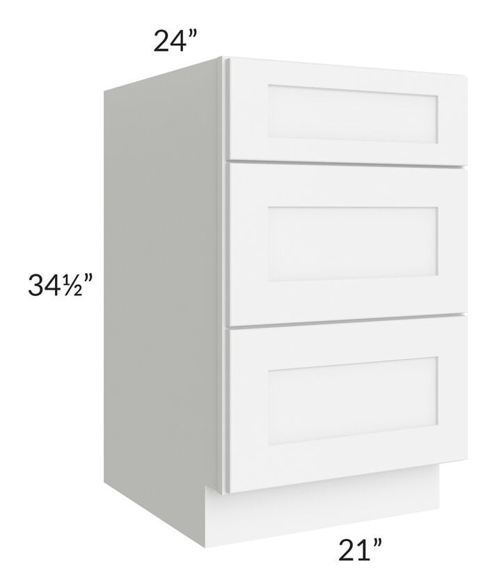 "Brilliant White Shaker 21"" 3-Drawer Base Cabinet"