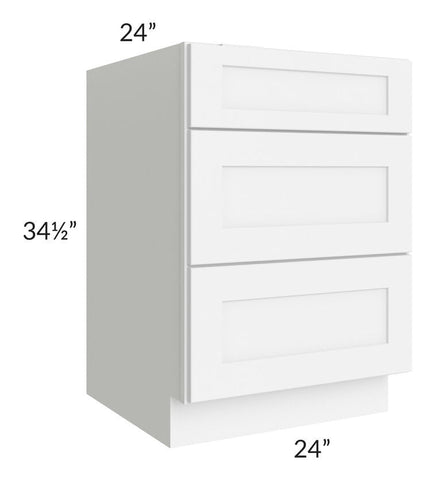 "Brilliant White Shaker 24"" 3-Drawer Base Cabinet"
