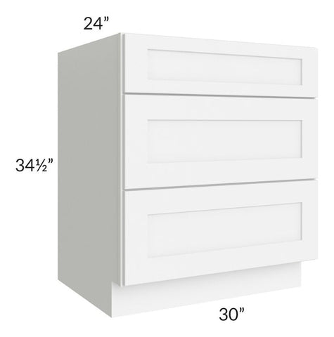 "Brilliant White Shaker 30"" 3-Drawer Base Cabinet"