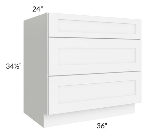"Brilliant White Shaker 36"" 3-Drawer Base Cabinet"