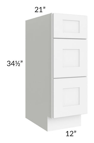 "Brilliant White Shaker 12"" 3-Drawer Vanity Base Cabinet"