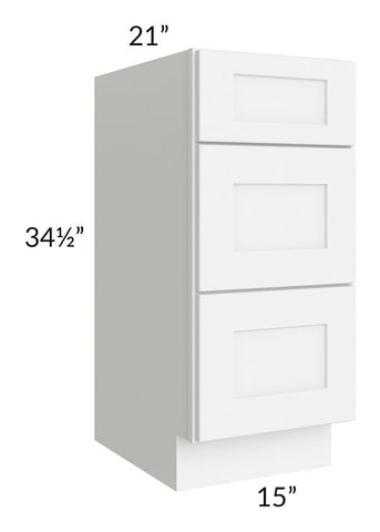 "Brilliant White Shaker 15"" 3-Drawer Vanity Base Cabinet"