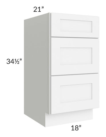 "Brilliant White Shaker 18"" 3-Drawer Vanity Base Cabinet"