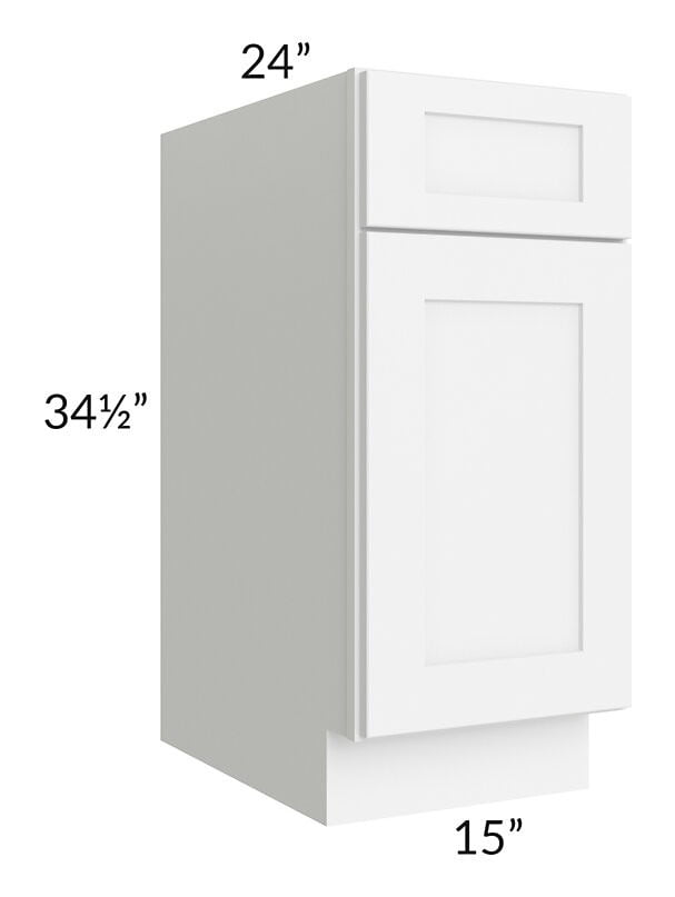 "Brilliant White Shaker 15"" Base Cabinet"