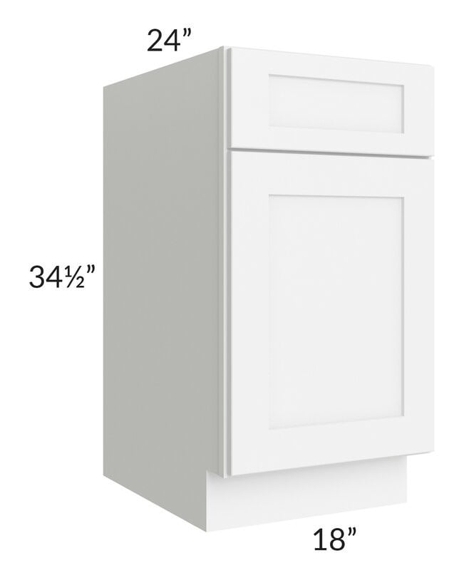 "Brilliant White Shaker 18"" Base Cabinet"