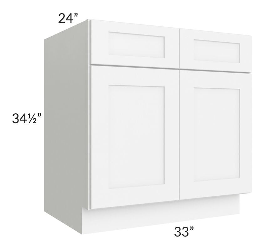 "Brilliant White Shaker 33"" Base Cabinet"