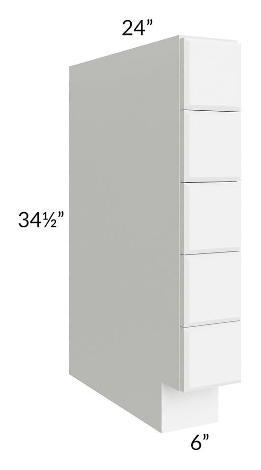 "Brilliant White Shaker 06"" Base Spice Drawer Cabinet"