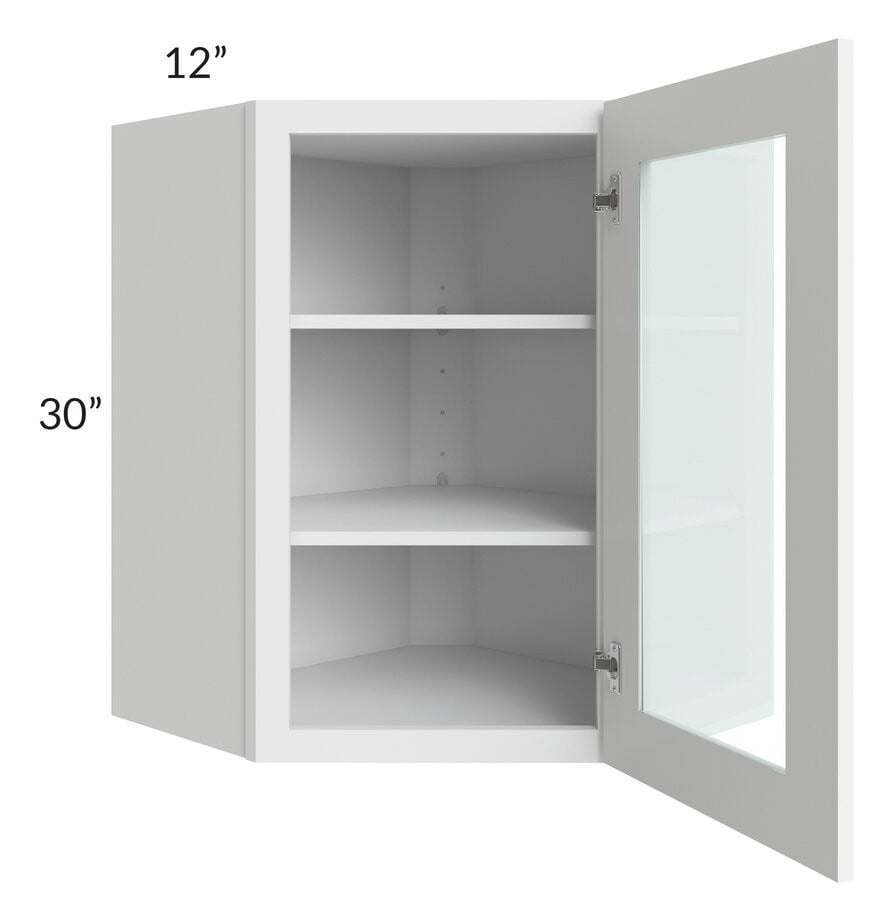 Brilliant White Shaker 24x30 Wall Diagonal Corner Cabinet (Prepped for Glass Doors)
