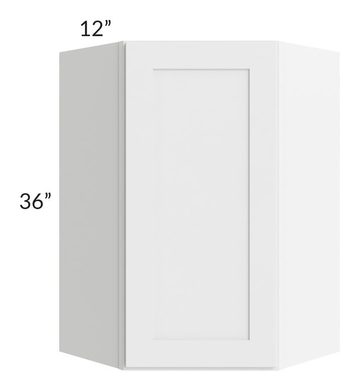 Brilliant White Shaker 24x36 Wall Diagonal Corner Cabinet