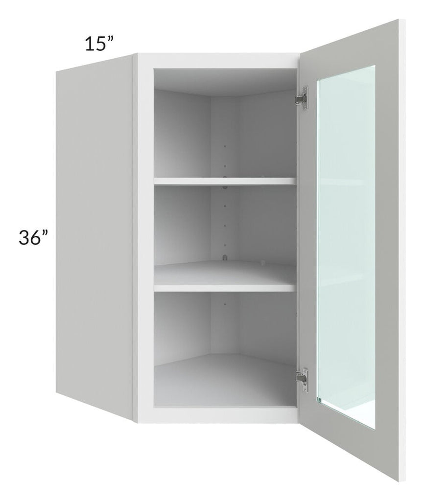 Brilliant White Shaker 27x36 Wall Diagonal Corner Cabinet (Prepped for Glass Doors)