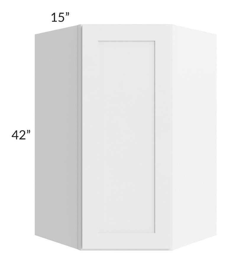 Brilliant White Shaker 27x42 Wall Diagonal Corner Cabinet