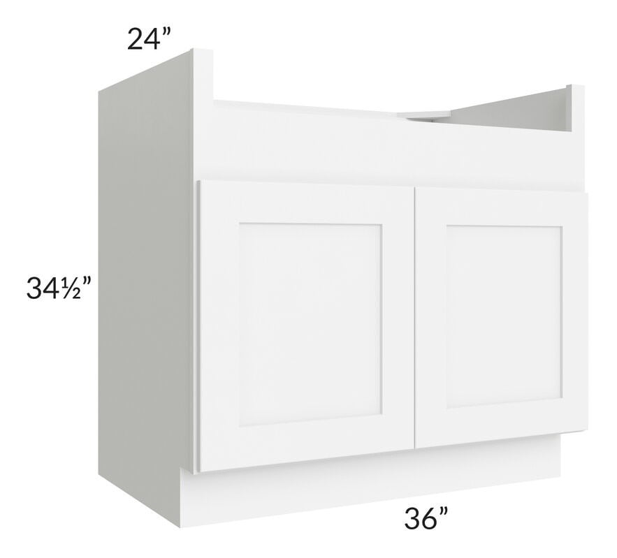 "Brilliant White Shaker 36"" Farm Sink Base Cabinet"