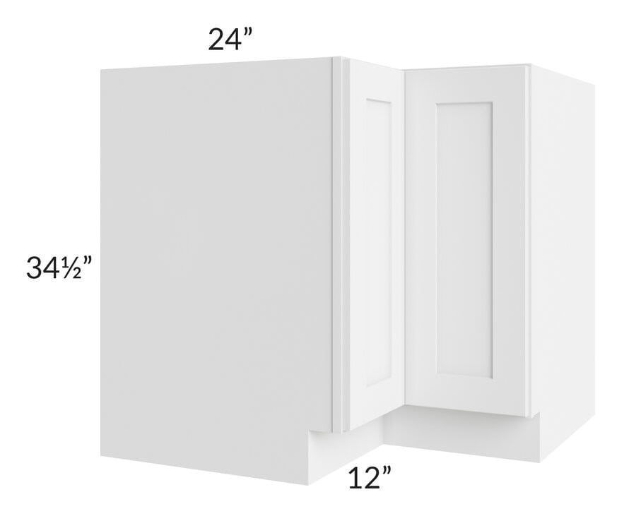"Brilliant White Shaker 36"" Lazy Susan Base Cabinet"