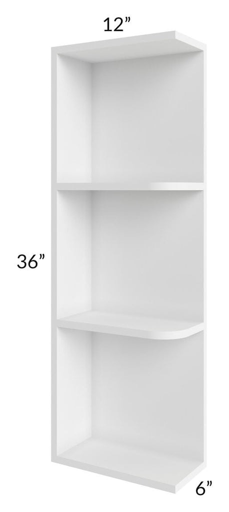 Brilliant White Shaker 06x36 Open End Shelf Cabinet