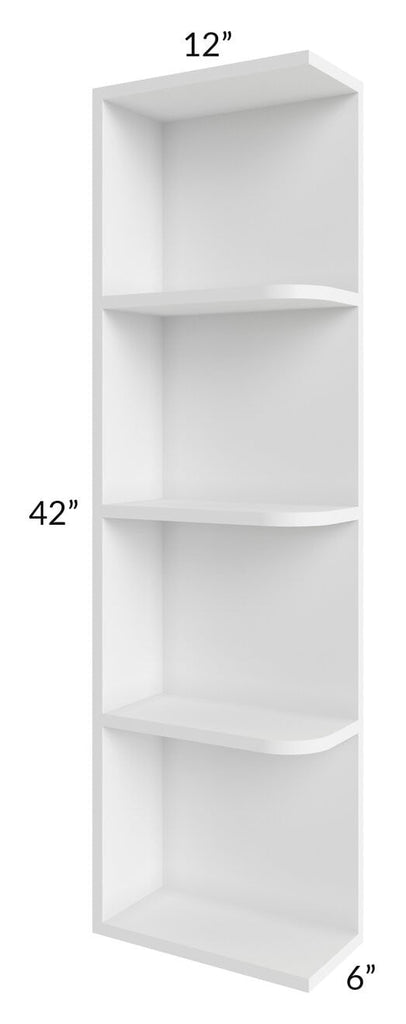 Brilliant White Shaker 06x42 Open End Shelf Cabinet