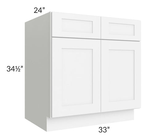 "Brilliant White Shaker 33"" Sink Base Cabinet"