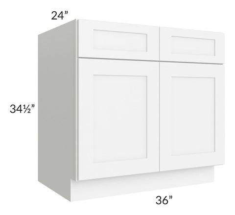 "Brilliant White Shaker 36"" Sink Base Cabinet"