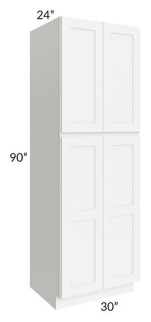 Brilliant White Shaker 30x90x24 Wall Pantry Cabinet