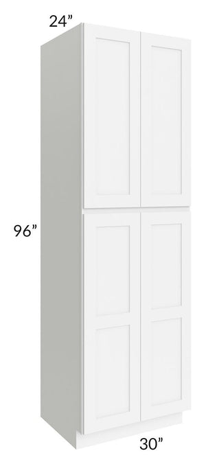 Brilliant White Shaker 30x96x24 Wall Pantry Cabinet